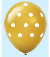 """11"""" Polka Dots Latex Balloons 25 Count Gold"""