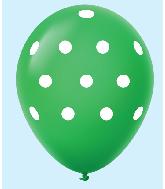 """11"""" Polka Dots Latex Balloons 25 Count Green"""