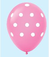 """11"""" Polka Dots Latex Balloons 25 Count Magenta"""