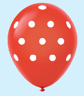 "11"" Polka Dots Latex Balloons 25 Count Red"