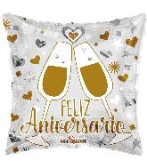 """18"""" Feliz Aniversario Glasses Foil Balloon"""