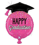 """38"""" Glittering Pink Balloon Grad Foil Balloon"""