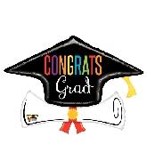 """36"""" Mighty Congrats Grad Diploma Foil Balloon"""