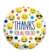 "18"" MAX Float Balloon Emoji Thanks Foil Balloon"