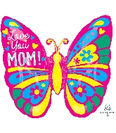 """25"""" Love You Mom Butterfly ColorBlast XL® Foil Balloon"""