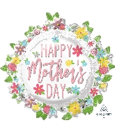 "30"" Happy Mother's Day Wreath SuperShape Foil Balloon"