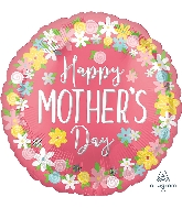 """18"""" Happy Mother's Day Floral Wreath Foil Balloon"""