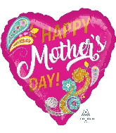 """18"""" Happy Mother's Day Paisley Foil Balloon"""