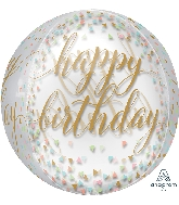 "16"" Pastel Confetti Orbz Clear Foil Balloon"