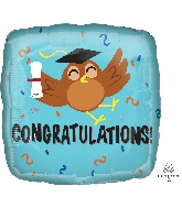 "18"" Congratulations Grad Owl Foil Balloon"