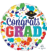 "18"" Congrats Grad Paint Splotch Foil Balloon"