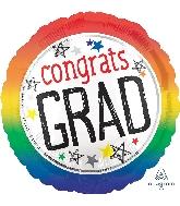 "18"" Congrats Grad Rainbow Foil Balloon"