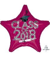 "18"" Class of 2018 - Burgundy Star Shape Foil Balloon"