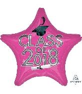 """18"""" Class of 2018 - Pink Star Shape Foil Balloon"""