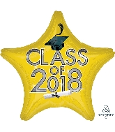 """18"""" Class of 2018 - Yellow Star Shape Foil Balloon"""