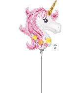 "14"" Magical Unicorn Airfill Only Mini Shape Foil Balloon"