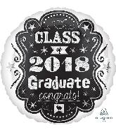 """18"""" Class of 2018 Chalkboard Foil Balloon"""