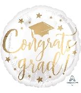 """18"""" Congrats Grad White & Gold Foil Balloon"""