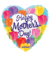 """18"""" Happy Mother's Day Bright Tulips Foil Balloon"""