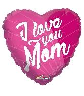"18"" I Love You Mom Pink GelliBean Foil Balloon"