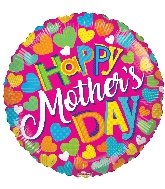 """18"""" Happy Mother's Day Colorful Hearts Foil Balloon"""