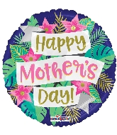 """18"""" Happy Mother's Day Banner & Flowers Foil Balloon"""