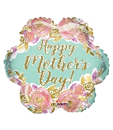 """18"""" Happy Mother's Day Flowers Gold Letters Foil Balloon"""