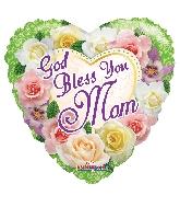 "18"" God Bless You Mom Flowers Foil Balloon"