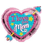 "18"" I Love You Mom Heart With Arrow Shape Foil Balloon"