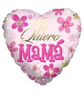 """18"""" Te Quiero Mamá Pink Heart Foil Balloon"""