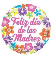 "18"" Feliz Día De Las Madres Colorful Flowers Foil Balloon"