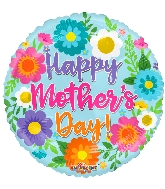 """18"""" Happy Mother's Day S ing Flowers Foil Balloon"""