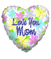 """18"""" Love You Mom Flowers & Dots Foil Balloon"""