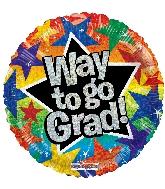 """18"""" Way To Go Grad Stars Ho Foil Balloon"""