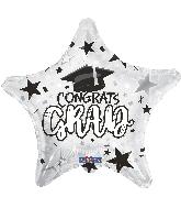 "18"" Grad Star White Foil Balloon"