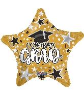 "18"" Grad Star Gold Foil Balloon"