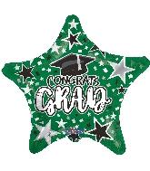 "18"" Grad Star Green Foil Balloon"
