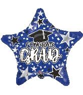 """18"""" Grad Star Blue Foil Balloon"""