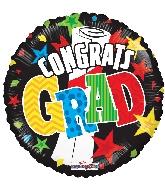 "18"" Grad Banner & Stars Foil Balloon"