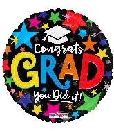 "18"" Congrats Grad Stars Foil Balloon"