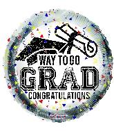 """18"""" Way To Go Grad Confetti Foil Balloon"""