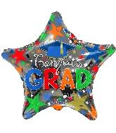"""18"""" Congrats Grad Blue Cap Foil Balloon"""