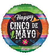 "18"" Happy Cinco De Mayo Sarape Foil Balloon"