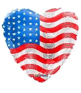 """18"""" Usa Flag On Heart Foil Balloon"""