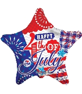 """18"""" Happy 4Th Of July Star Foil Balloon"""