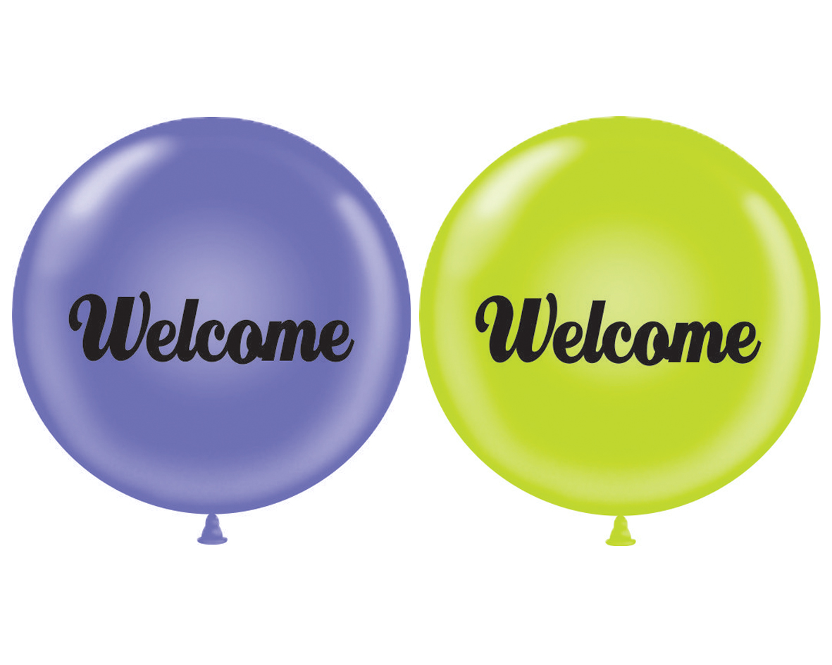 """36"""" Latex Balloon 2CT Welcome (Lavender, Lime Green)"""