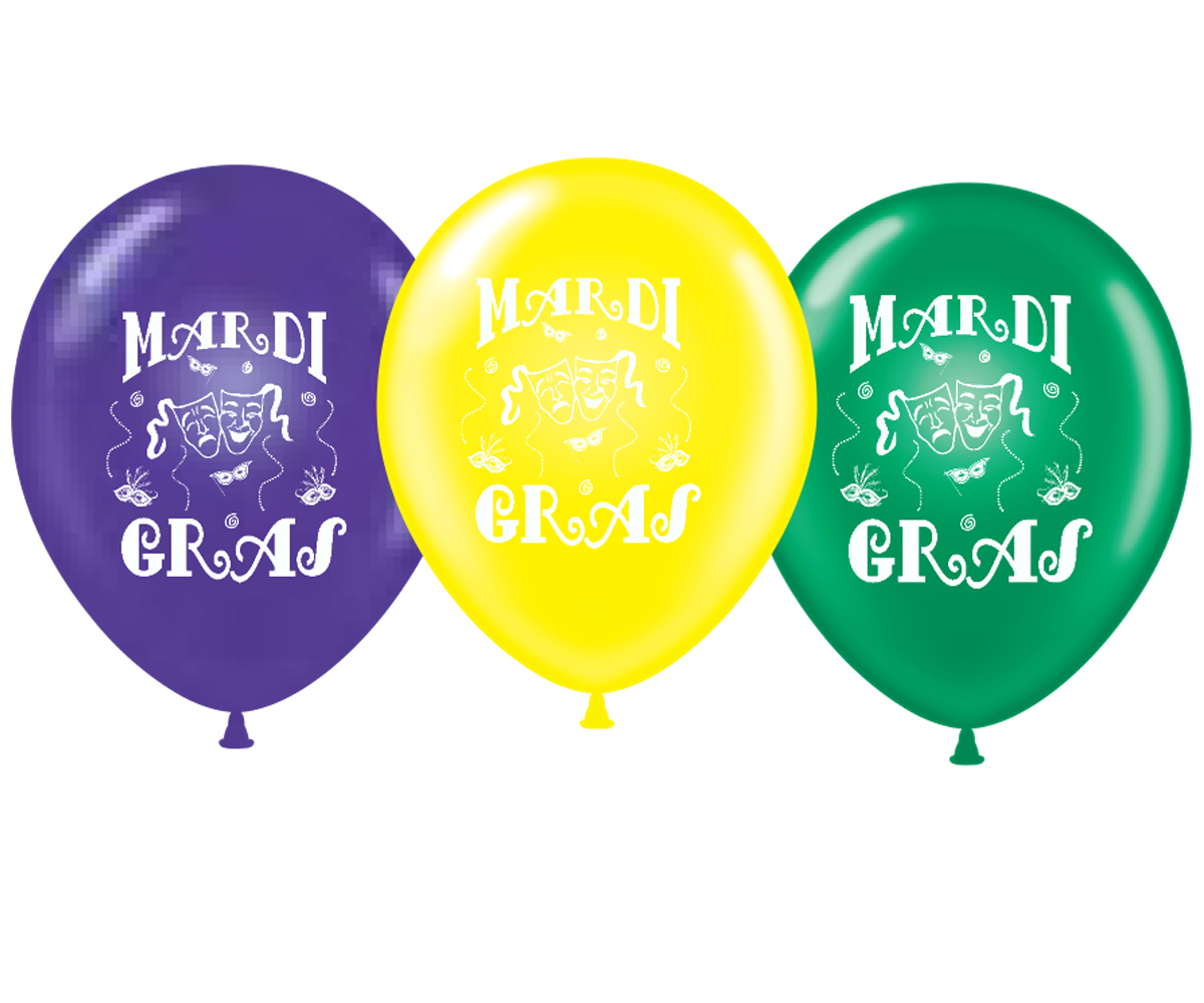 """11"""" Mardi Gras Printed Latex Balloons 100 Per Bag"""
