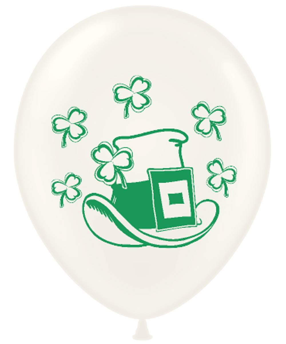 "11"" St Patricks's Day Hat & Shamrock Latex Balloons 100 CT"