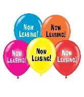"17"" Now Leasing Printed Latex Balloons 50 Per Bag"