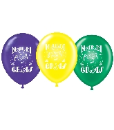 "11"" Mardi Gras Printed Latex Balloons 100 Per Bag"